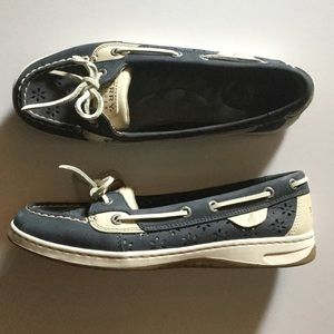 Sperry Top-Sider Navy Floral Cutout Shoes 7.5